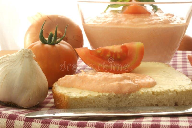 Fromage blanc avec la tomate et l'oignon comme écarté image stock