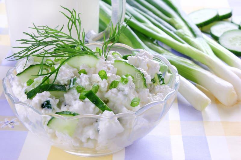 Fromage blanc avec le concombre photographie stock libre de droits