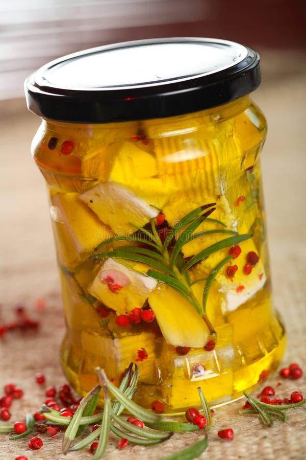 Fromage blanc en huile de cuisine images libres de droits
