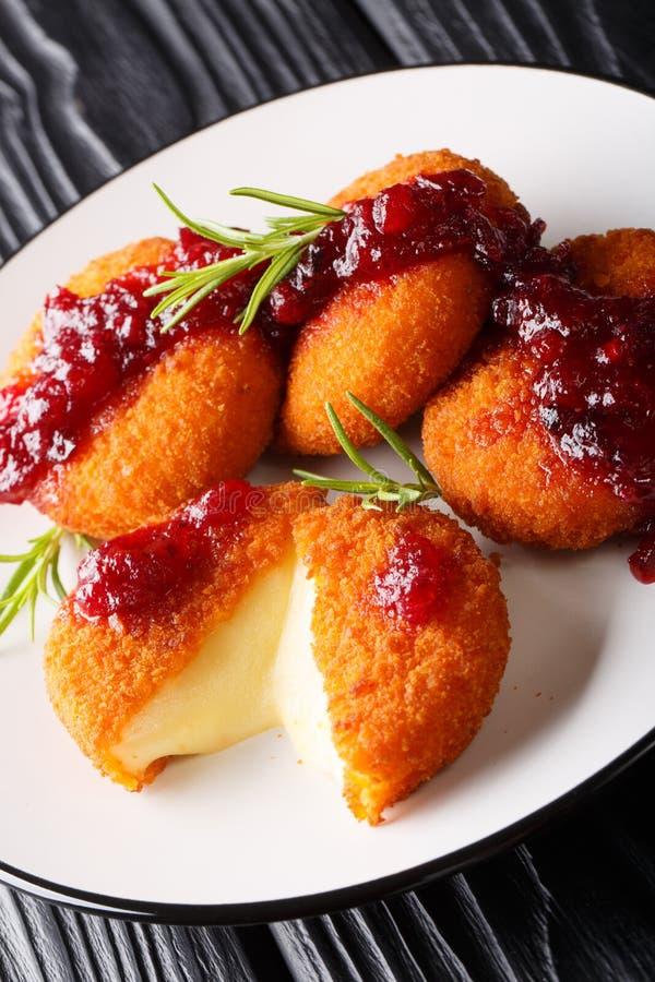 Fromage cuit au four délicieux de camembert pané avec le plan rapproché de sauce à la canneberge et de Rosemary d'un plat vertica images libres de droits