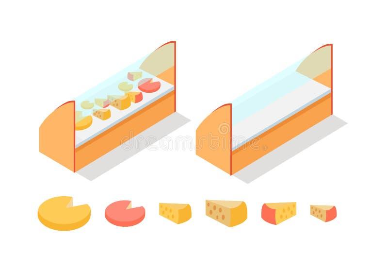 Fromage dans le vecteur isométrique d'étalage d'épiceries illustration de vecteur