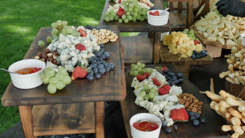 Fromage de cheddar organique Gauda Parmesan et baies et écrous naturels et sains assortis de fruit pour le festin de jeune photos libres de droits
