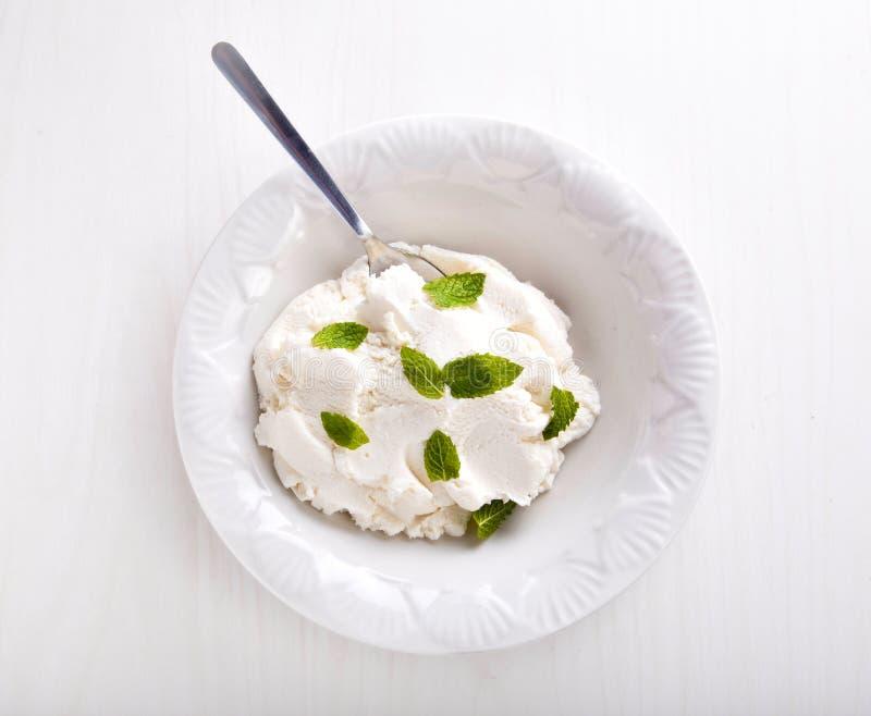 Fromage de Ricotta avec la menthe fraîche image stock