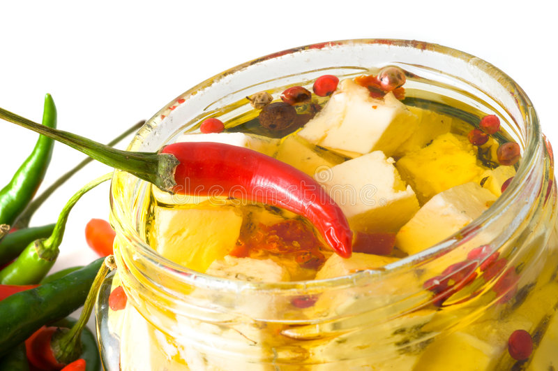 Fromage en marinade. image stock