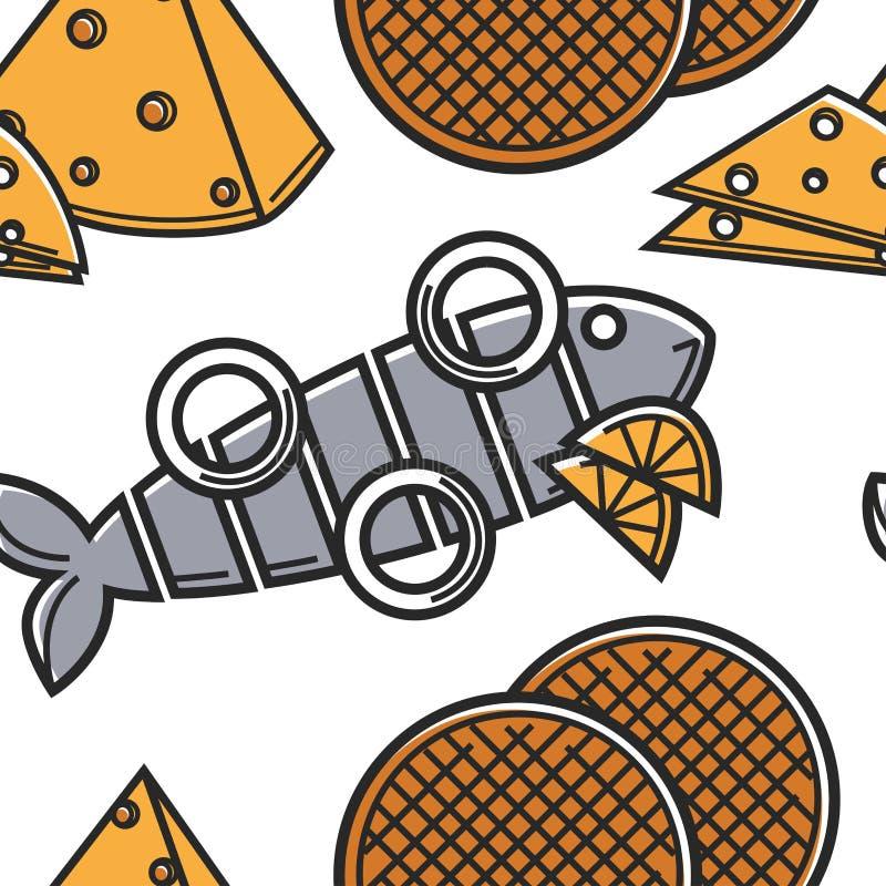 Fromage et dessert sans couture de nourriture de la Hollande et de fruits de mer de modèle de cuisine illustration de vecteur