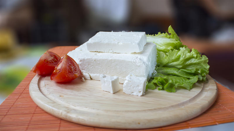 Fromage et laitue blancs image stock