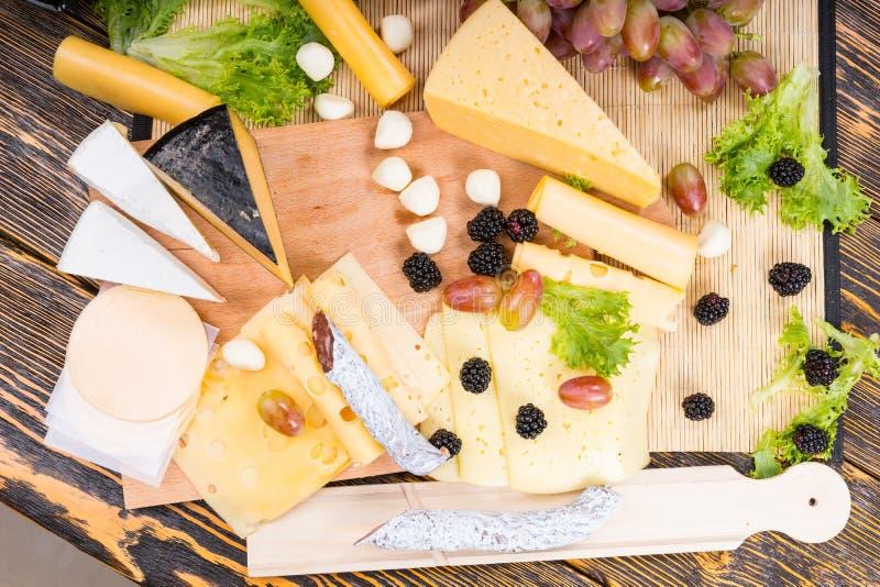 Fromage gastronome, viande traitée et apéritif de fruit photo stock