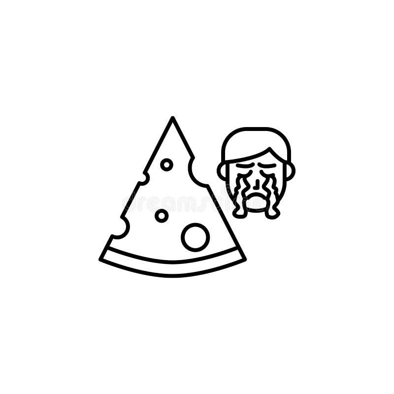 Fromage, icône allergique de visage Élément des problèmes avec l'icône d'allergies Ligne mince icône pour la conception de site W illustration de vecteur