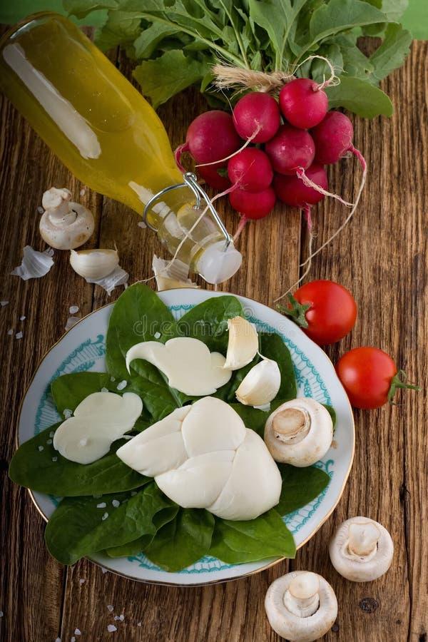 Fromage tordu de slovak de plat avec le légume autour photos stock