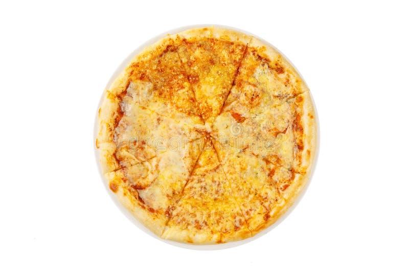 Fromages de la pizza quatre sur le fond blanc d'isolement par plat photographie stock
