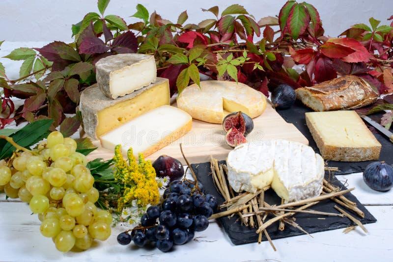 Fromages français avec des raisins images stock