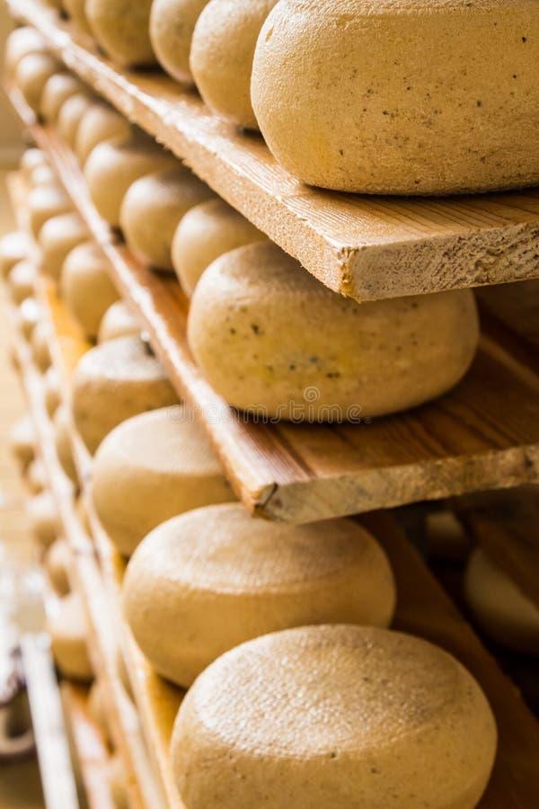 Fromages mûris se trouvant sur les étagères en bois. photographie stock