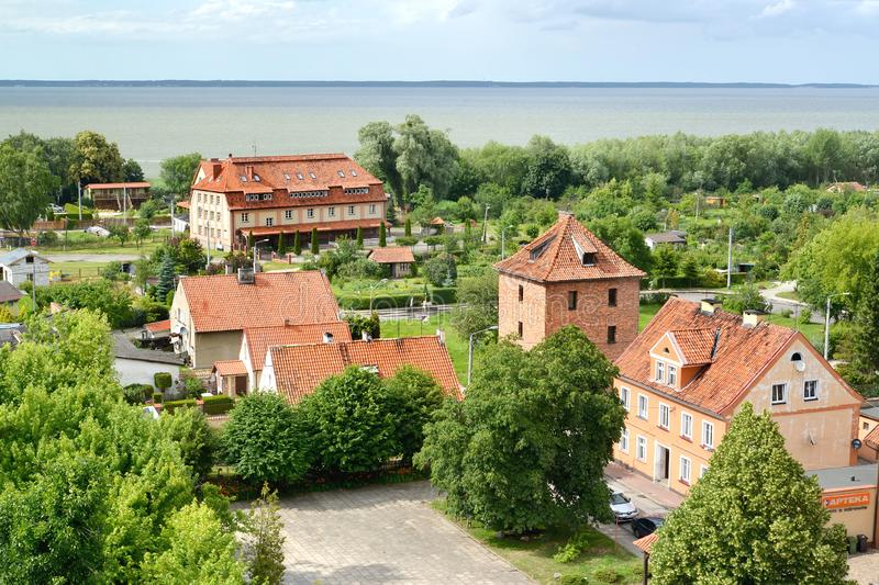 FROMBORK, POLAND. The top view on tile roofs in the city. FROMBORK, POLAND - JULY 09, 2015: The top view on tile roofs in the city royalty free stock image
