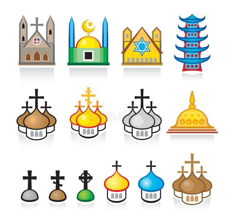 Fromme Tempel und Anbetung-Plätze stock abbildung