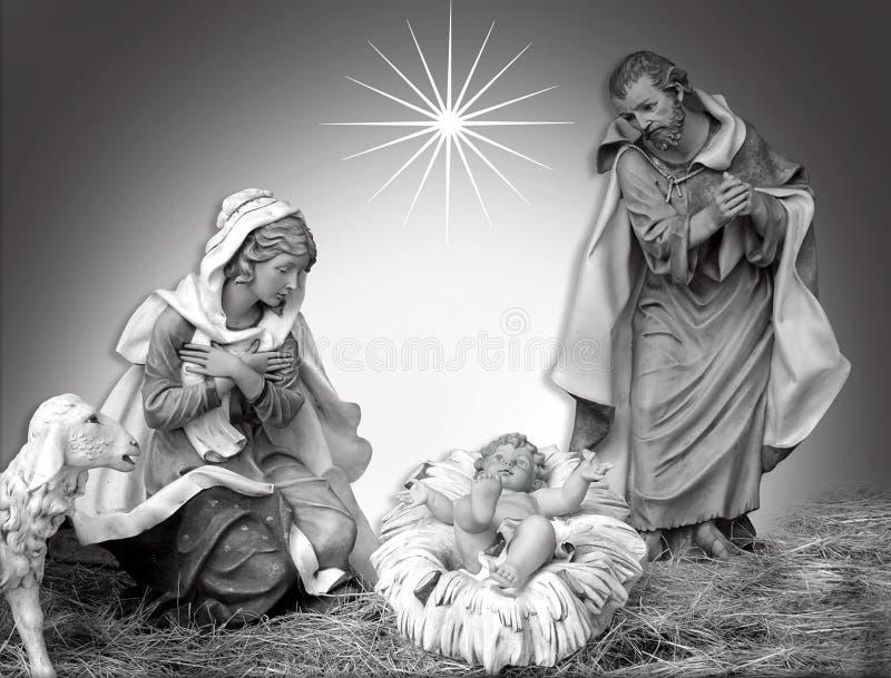 Frommes Schwarzweiss der Geburt Christi-Weihnachtsszene stock abbildung