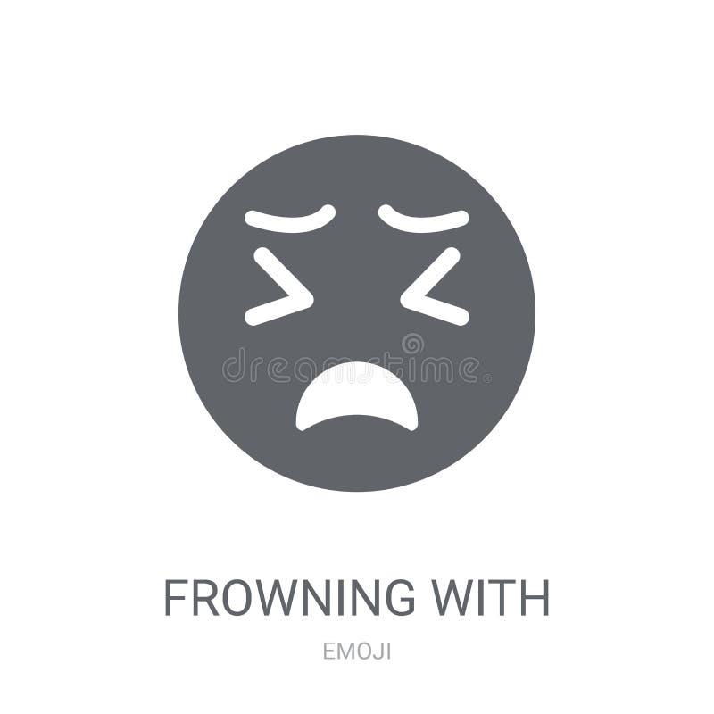 Froncement de sourcils avec l'icône ouverte d'emoji de bouche  illustration de vecteur