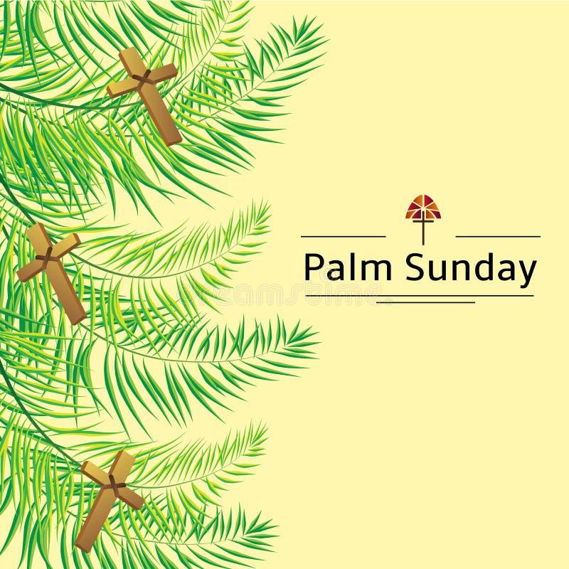 Fronde de dimanche de paume et fond de vecteur de croix Illustration de vecteur pour les vacances chrétiennes illustration libre de droits