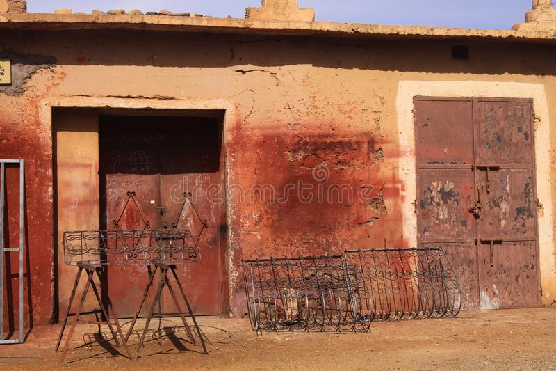 Front of abandoned berber arabian house in atlas mountains near Ourika valley, Morocco royalty free stock photos