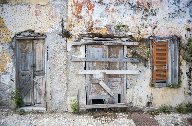 Front of an abandoned house Rhodes, Greece. royalty free stock photography