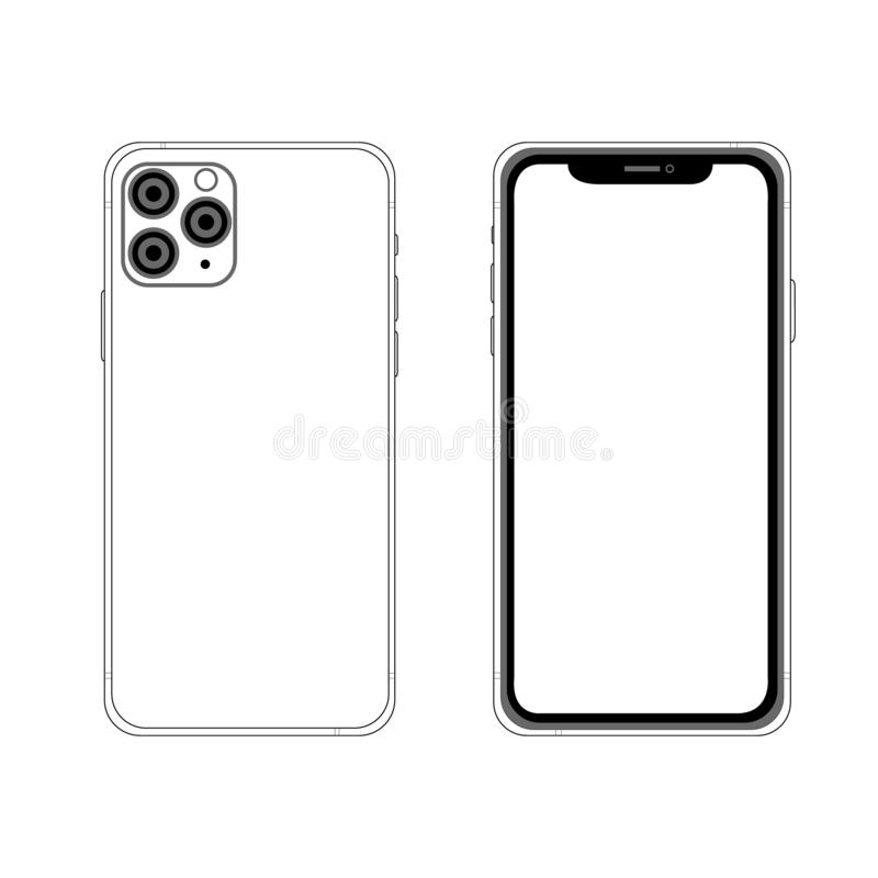 Free Front And Back Side New Iphone 11 Pro Max. Vector Simple Graphic Illustration. Stock Images - 160272874