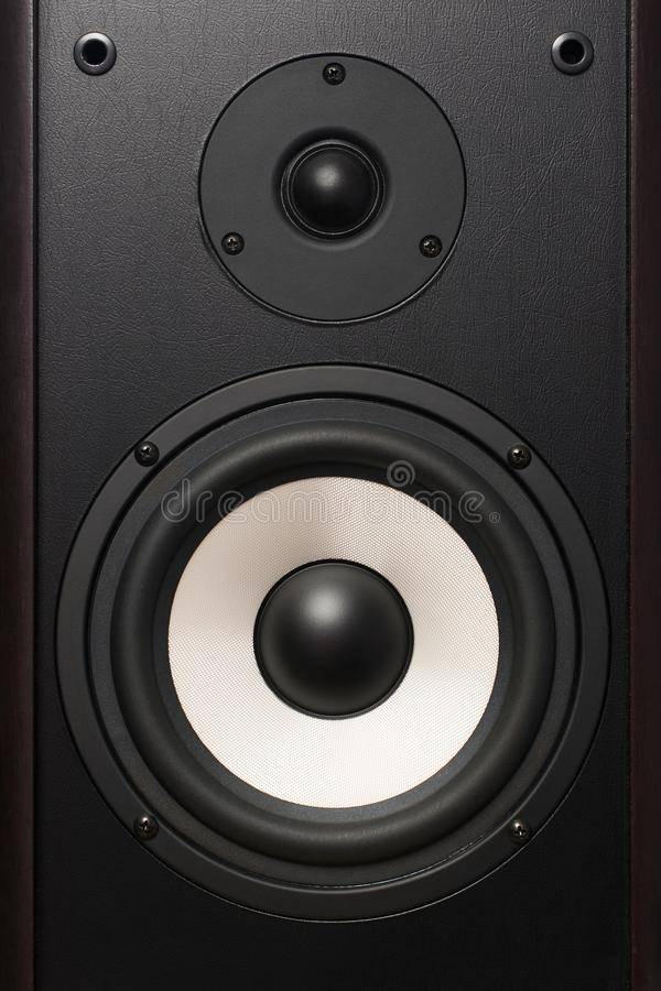 Front of the audio speaker, with a white speaker royalty free stock photos