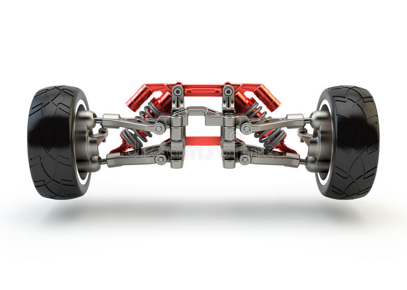 Front axle with suspension and sport gas absorbers royalty free illustration