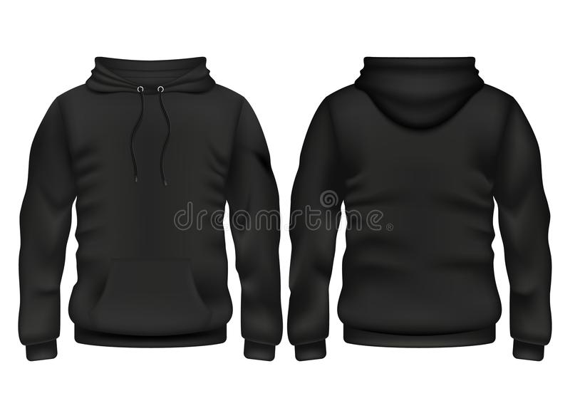 Front and back black hoodie vector template. Sweatshirt fashion with hoodie for sport and urban style illustration royalty free illustration