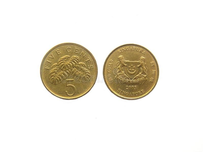 Front and back of 5 cents Singapore coin. Obverse and Reverse of five cents Singapore coin on white background royalty free stock images