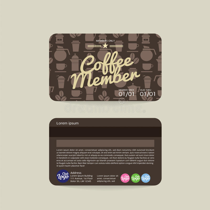 Front And Back Coffee Voucher av medlemkortmallen vektor illustrationer