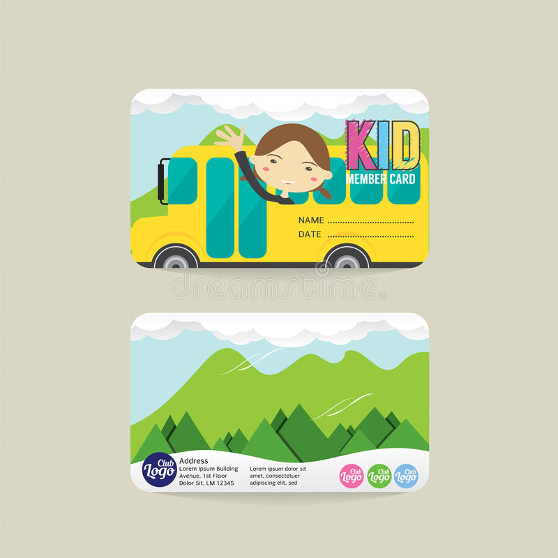 Front And Back Kids Member kortmall royaltyfri illustrationer
