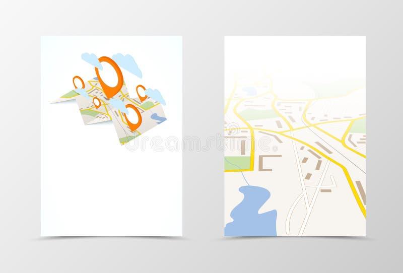 Front and back navigation flyer template design stock illustration