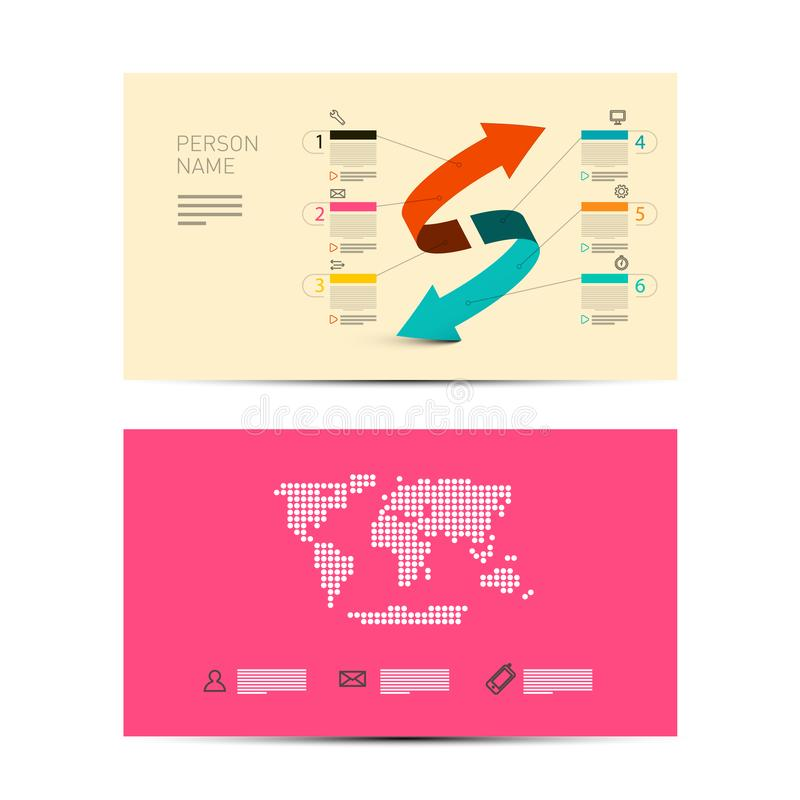 Front and Back Paper Business Invitation Card Layout vector illustration