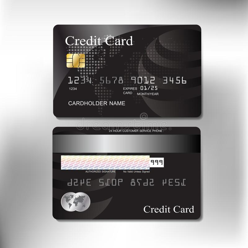 Front and back realistic credit card vector design royalty free stock photography