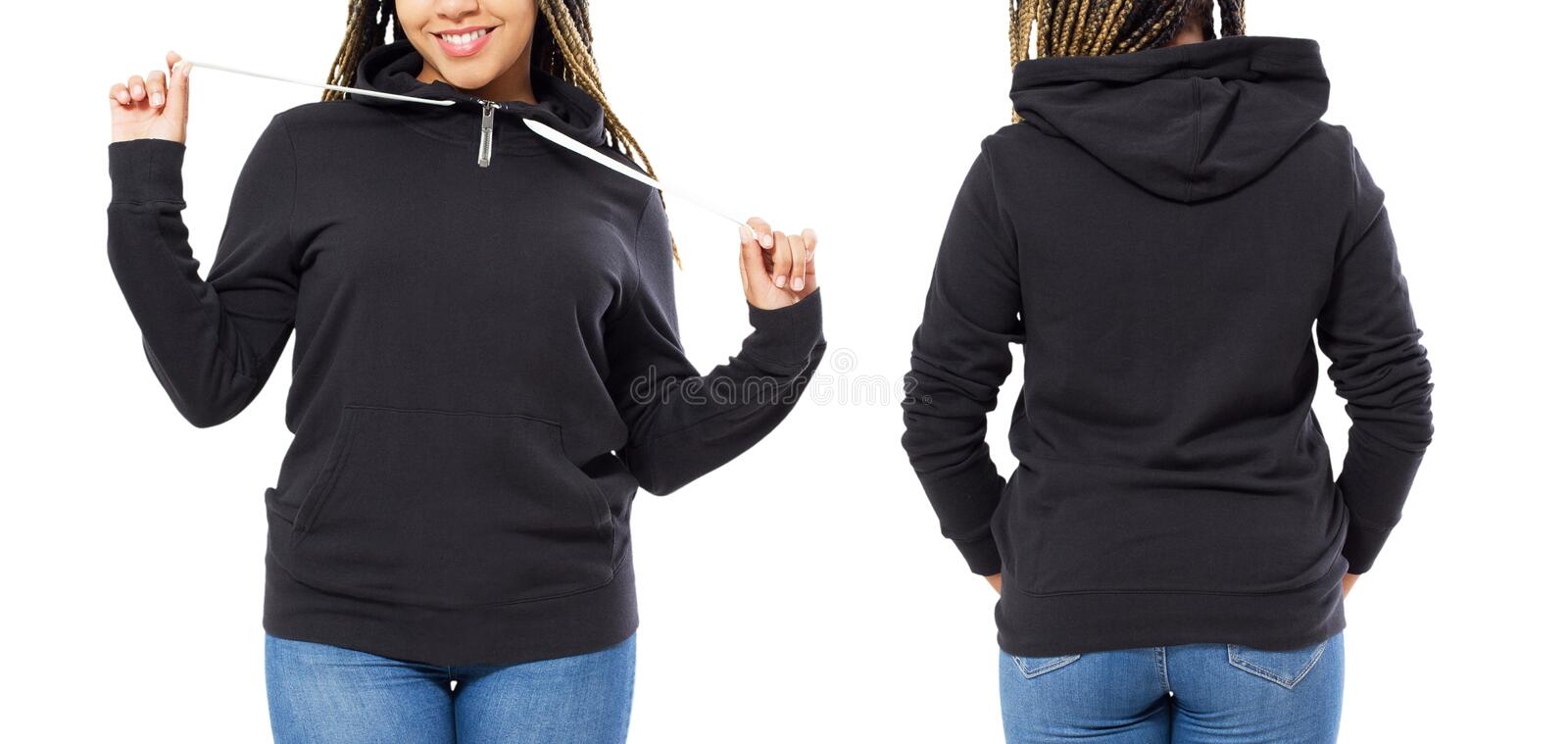 Front back and rear black sweatshirt view. Afro american girl show on template clothes for print and copy space isolated on white royalty free stock photo