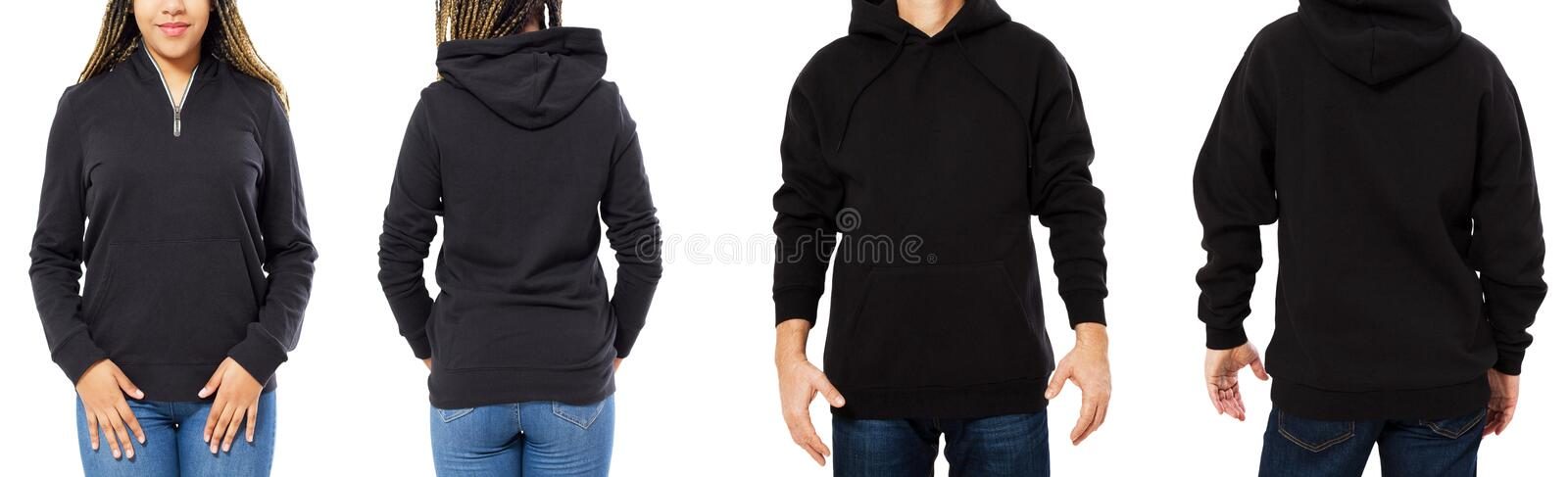 Front back and rear black sweatshirt view. Beautiful black female and male body in template clothes for print and copy space royalty free stock image