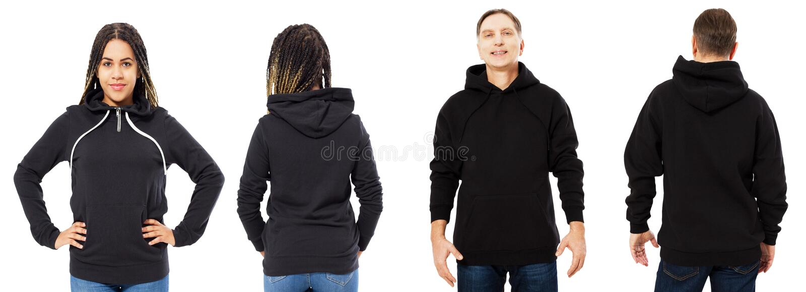 Front back and rear black sweatshirt view. Beautiful black woman and man in template clothes for print and copy space isolated on royalty free stock photography