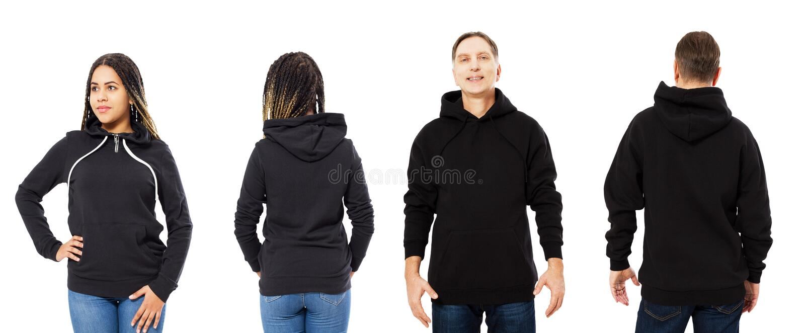 Front back and rear black sweatshirt view. Beautiful black woman and man in template clothes for print and copy space isolated on royalty free stock image