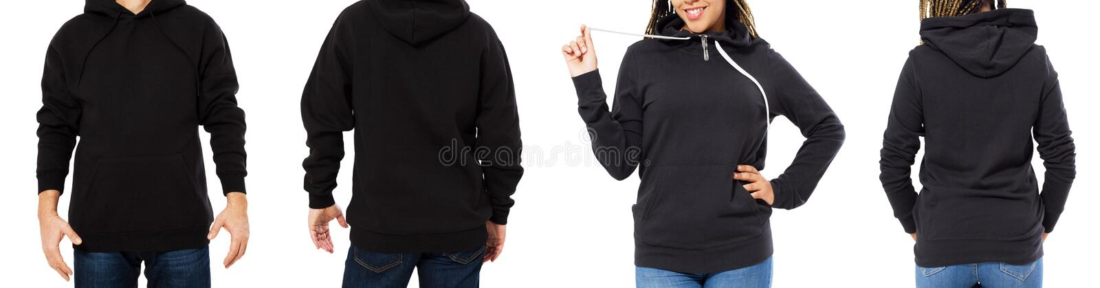 Front back and rear black sweatshirt view. Beautiful black female and male body in template clothes for print and copy space royalty free stock photo