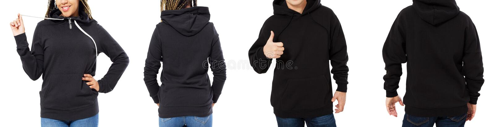 Front back and rear black sweatshirt view. Beautiful black female and male body in template clothes for print and copy space stock images