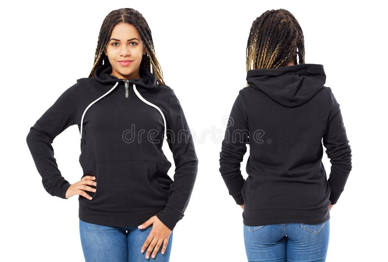 Front back and rear black sweatshirt view. Beautiful black woman in template clothes for print and copy space isolated on white stock images