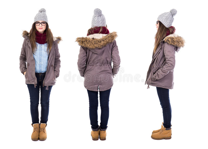 front, back and side view of young woman in winter clothes isolated on white stock image