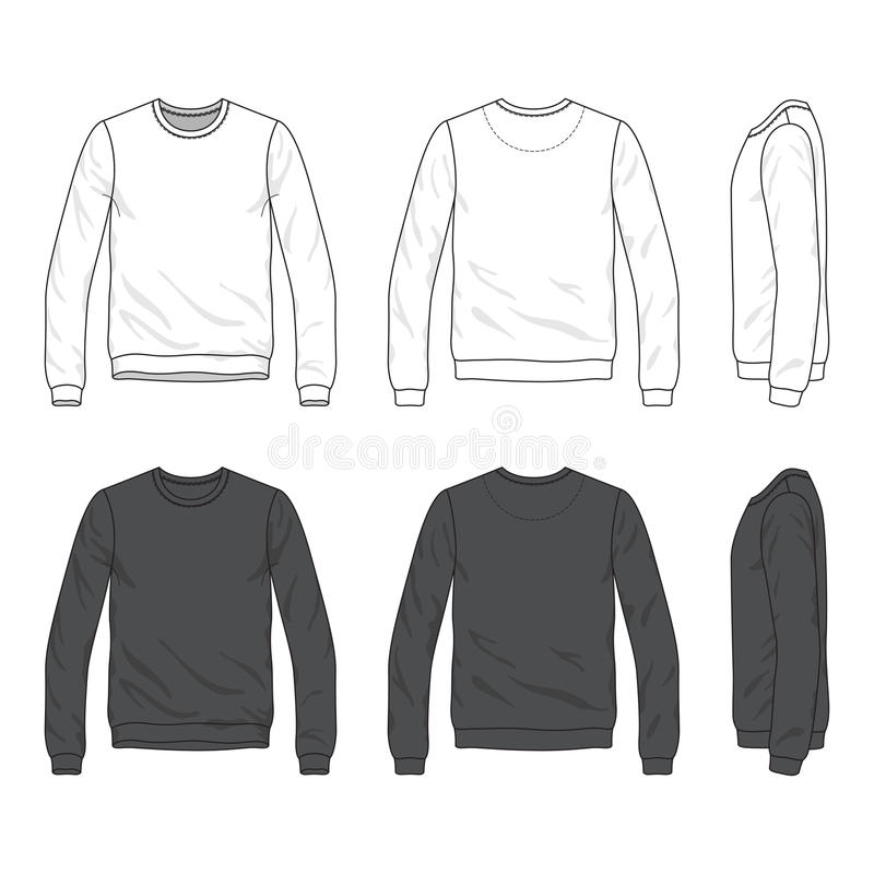 Front, back and side views of blank sweatshirt royalty free illustration