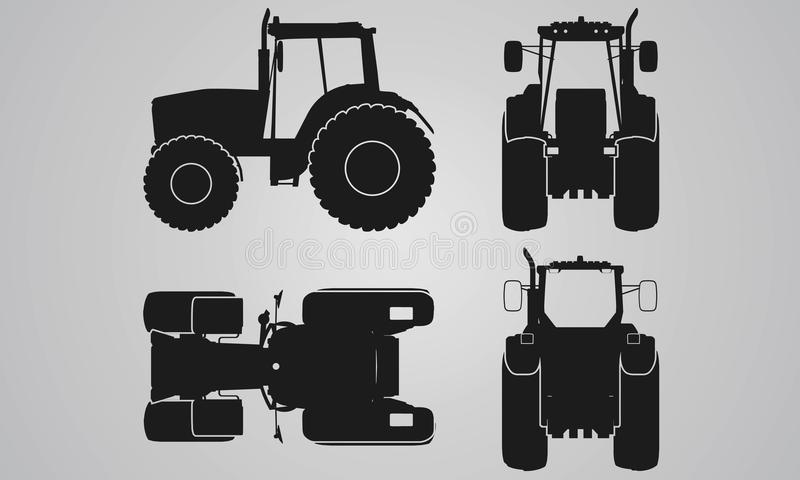 Front, back, top and side tractor projection. Flat illustration for designing icons, farm machinery vector illustration