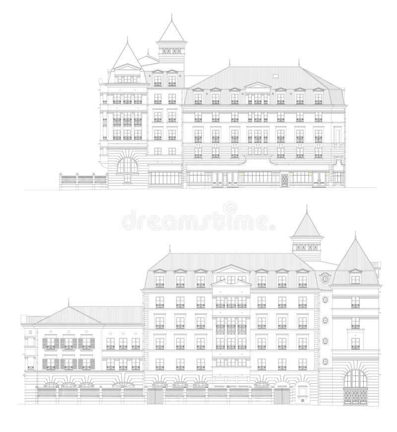 Front and back view of a building royalty free stock image