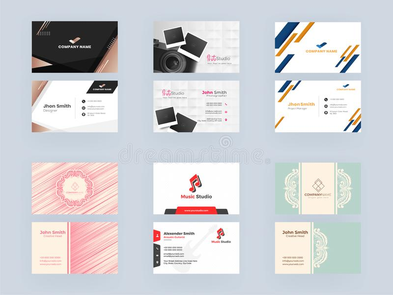 View of Business Card or Visiting Card Set such as Photo Studio, Music Studio. Front and Back View of Business Card or Visiting Card Set such as Photo Studio stock illustration