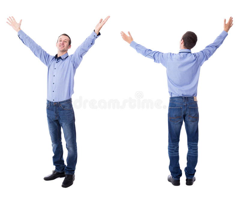 Front and back view of cheerful young businessman celebrating so stock photos