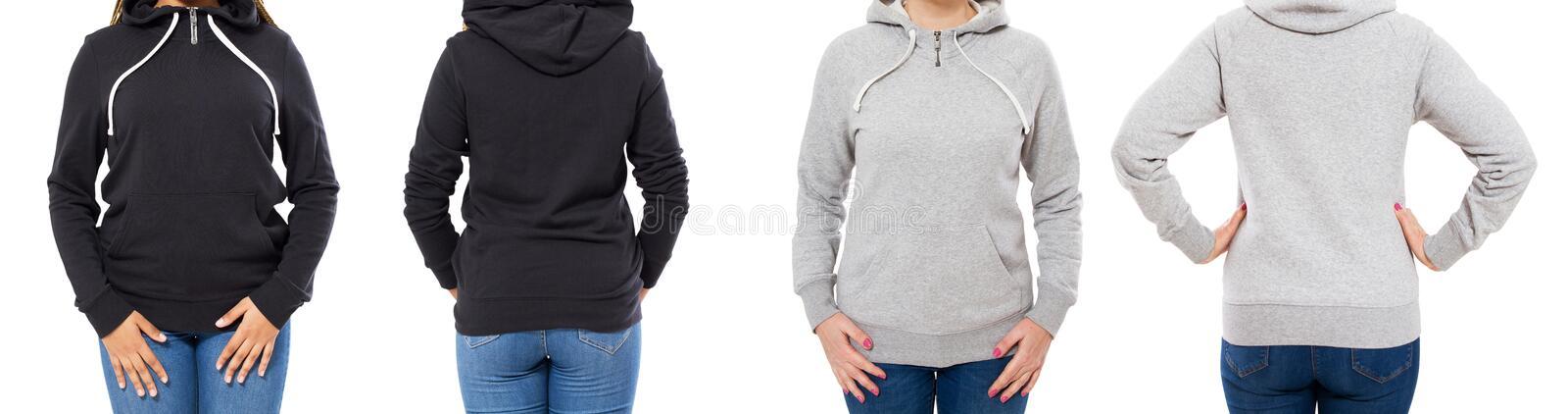 Front and back view - female girl woman in grey black hoodie isolated on white background stock photography