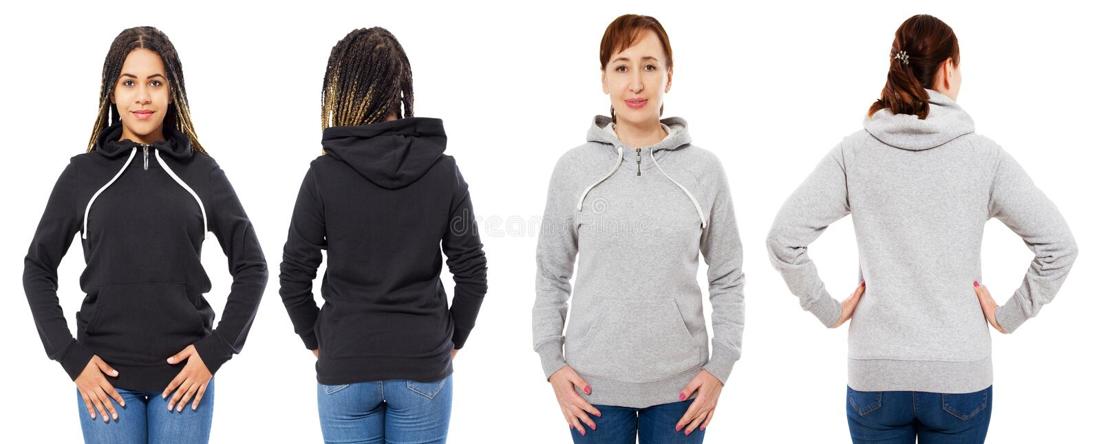 Front and back view - female girl woman in grey black hoodie isolated on white background royalty free stock photos