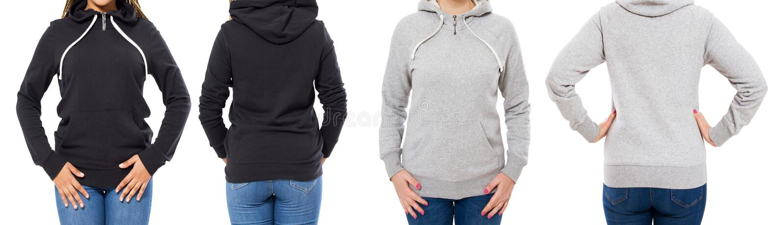 Front and back view - female girl woman in grey black hoodie isolated on white background royalty free stock photo