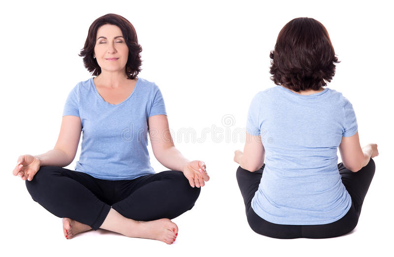 Front and back view of mature woman in yoga pose isolated on whi royalty free stock photo